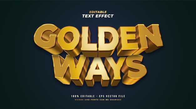 Golden way editable text style effect