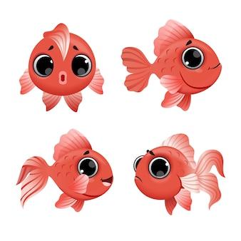 Goldfishes bonito dos desenhos animados conjunto isolado