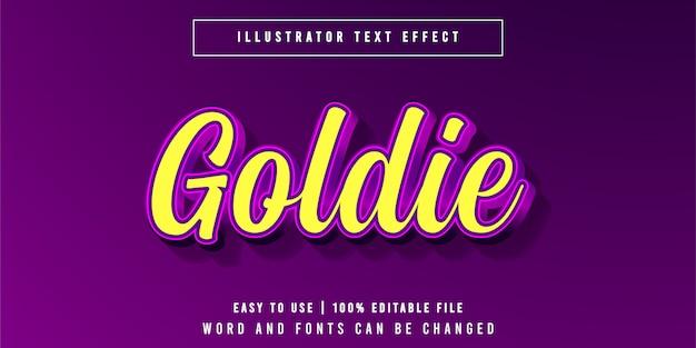 Goldie, estilo de efeito de texto roxo dourado editável