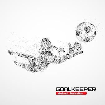 Goleiro de futebol abstrato pulando em círculos pretos. ilustração.