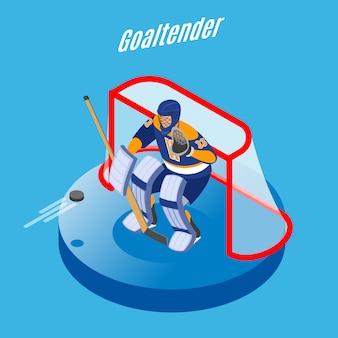 Goleiro de hóquei no gelo em equipamento completo, protegendo a meta com vara redonda composição isométrica azul
