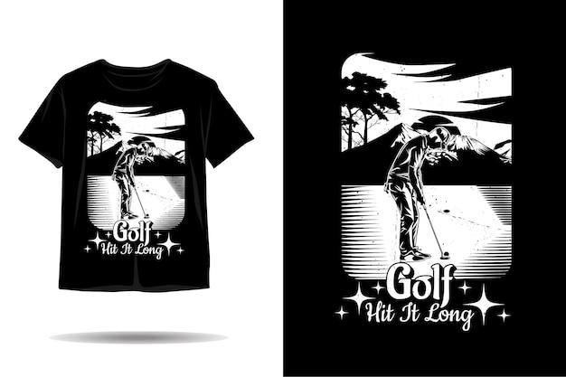 Golf acertou em cheio design de camiseta de silhueta longa