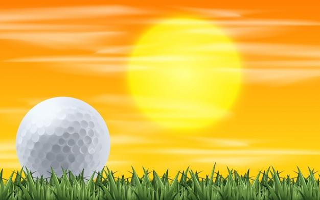 Golf com vista do pôr do sol