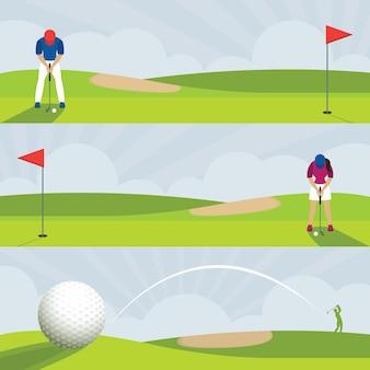 Golfe, faixa de campo de golfe, putt masculino e feminino, swing