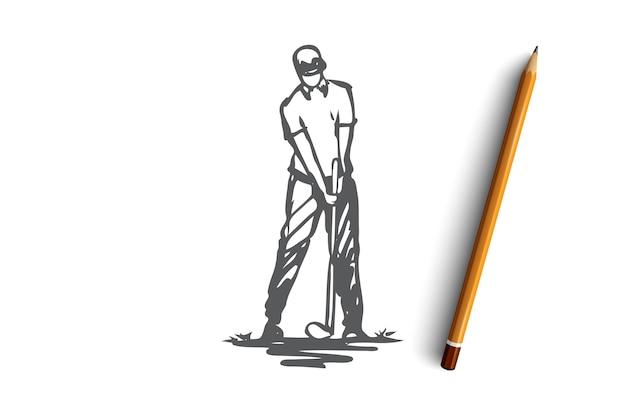 Golfe, jogo, jogador, jogador de golfe, conceito de golfe. jogador de golfe desenhado de mão no processo de esboço do conceito do jogo. ilustração.