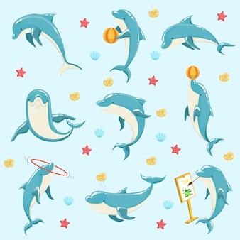 Golfinho-comum realizando truques conjunto de ilustrações