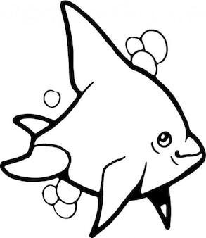 Golfinho em preto e branco para colorir