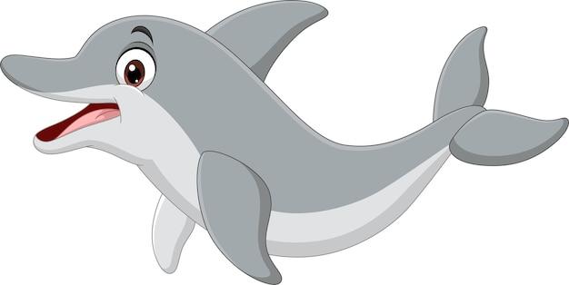 Golfinho engraçado de desenho animado em fundo branco