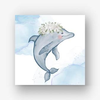Golfinho fofo com ilustração em aquarela de flor branca