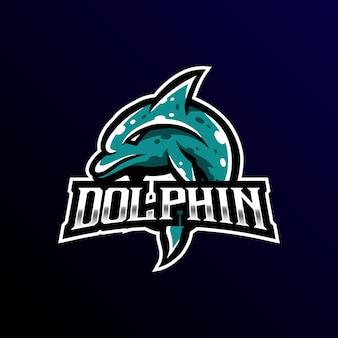 Golfinho mascote logotipo esport jogos.