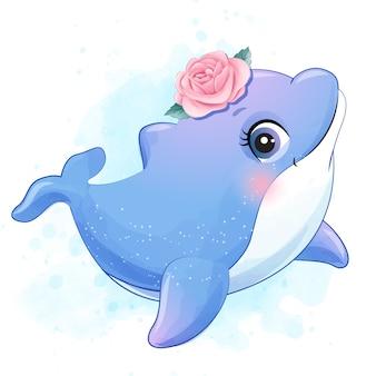 Golfinho pequeno bonito com ilustração em aquarela