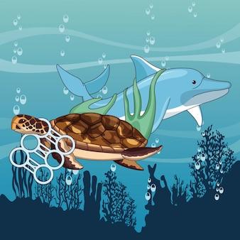 Golfinho triste e tartaruga preso