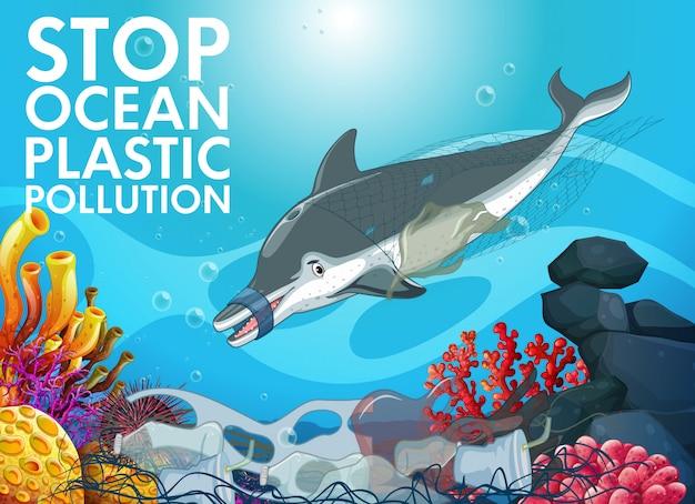 Golfinhos e sacos de plástico no oceano