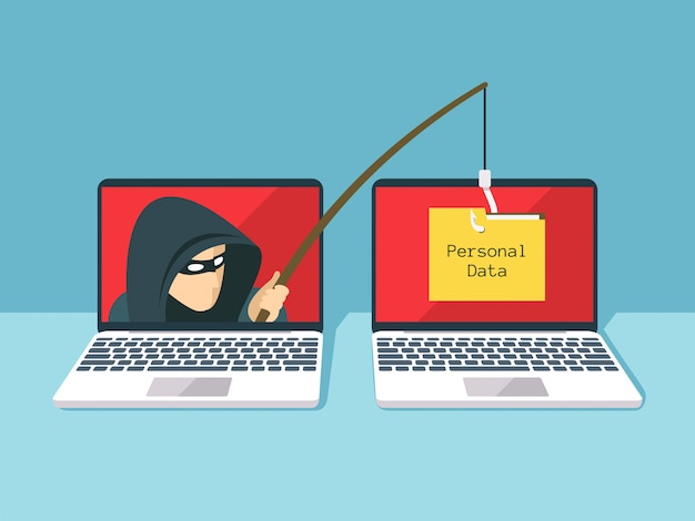 Golpe de phishing, ataque de hackers e conceito de vetor de segurança da web