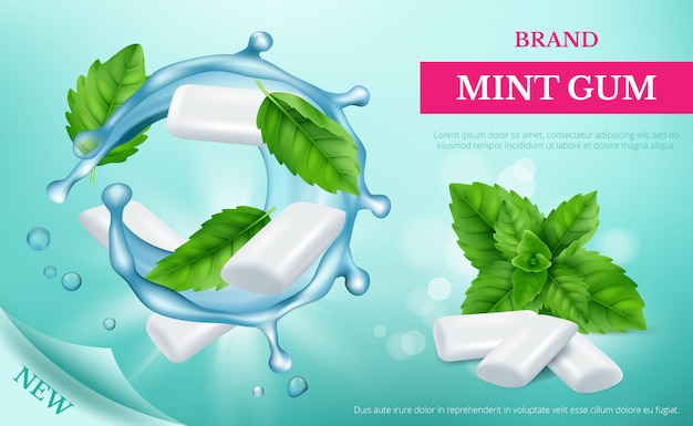 Goma de hortelã. cartaz publicitário com doces frescos e folhas de modelo realista de vetor de hortelã