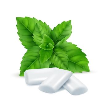 Goma de hortelã. folhas frescas de mentol com doces de goma branca para respirar imagens realistas de cheiros frescos