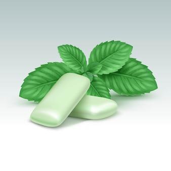 Goma de mascar com folhas de hortelã fresca, isoladas no branco