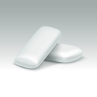 Goma de mascar em fundo branco