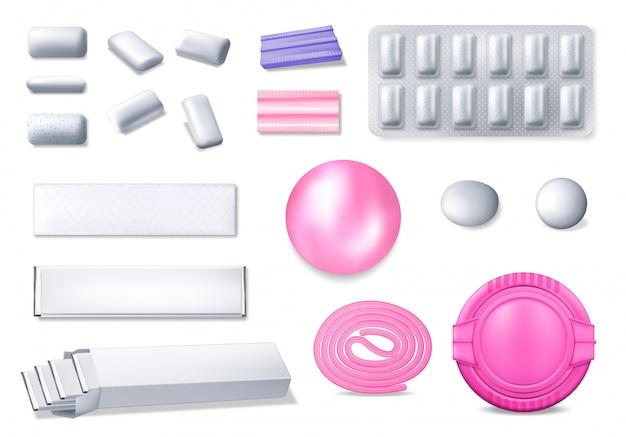 Goma de mascar realista 3d ícones de chiclete