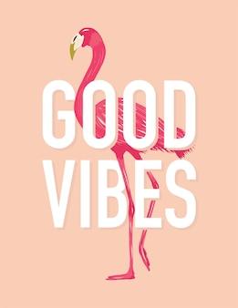 Good vibes art design citação da arte da parede do good vibes com flamingo