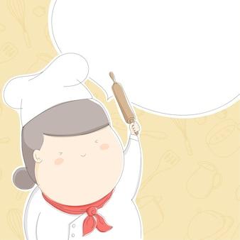 Gorda chef mulher