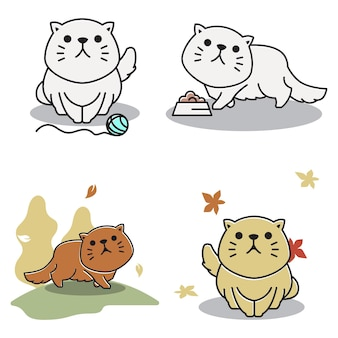 Gordo adorável gato persa andando no outono outono desenho animado