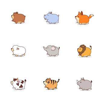 Gordo bonito animais dos desenhos animados ícone conjunto