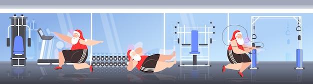 Gordo papai noel fazendo exercícios aeróbicos homens barbudos com sobrepeso treinamento treino treino de perda de peso natal ano novo feriados celebração moderno ginásio ilustração interior