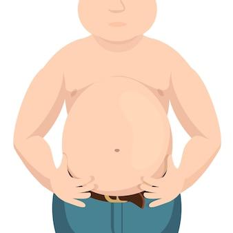 Gordura do abdômen, homem acima do peso e com uma grande barriga.
