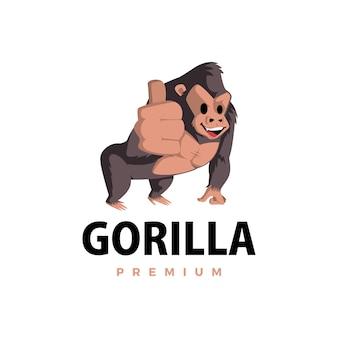 Gorila batendo no ícone do personagem mascote ilustração do logotipo