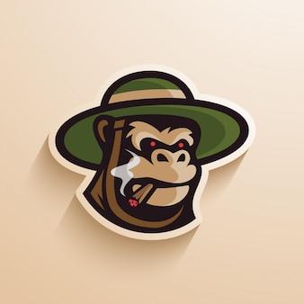 Gorila chapéu charuto logotipo