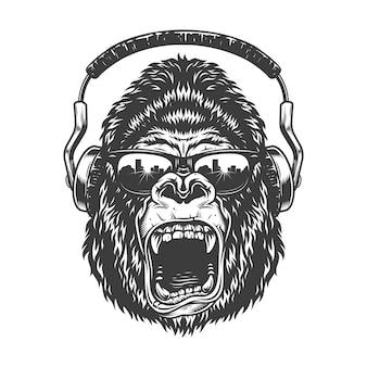 Gorila com fones de ouvido