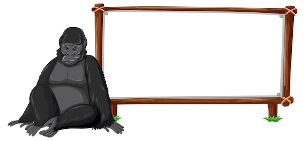 Gorila com moldura de madeira horizontal isolada no branco