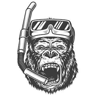 Gorila com raiva no estilo monocromático