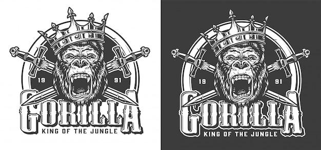 Gorila com raiva no rótulo vintage de coroa