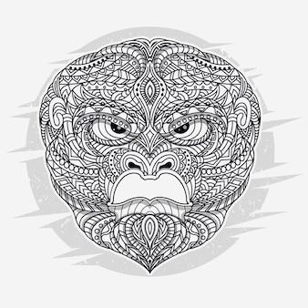 Gorila de arte de linha em ilustração vetorial étnica