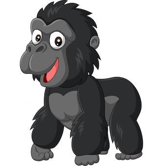 Gorila de bebê dos desenhos animados sobre fundo branco