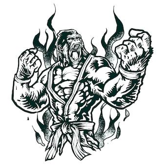 Gorila de lutador de jiu-jitsu monocromático