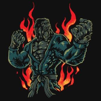Gorila de lutador de jiu-jitsu zangado