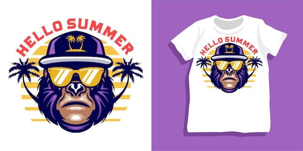 Gorila de verão com design de camiseta de óculos de sol