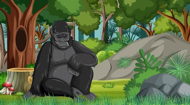 Gorila em floresta ou cenário de floresta tropical com muitas árvores