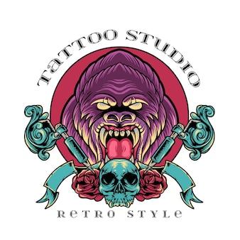 Gorila estúdio de tatuagem em estilo retro