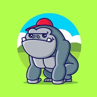 Gorila fofo desenho animado com tampa vermelha
