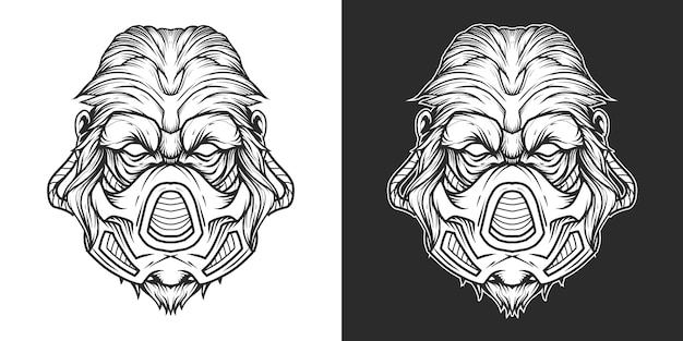 Gorila gasmask cabeça logotipo linha arte