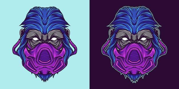 Gorila gasmask cabeça mascote logo ilustração