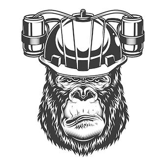Gorila grave em estilo monocromático
