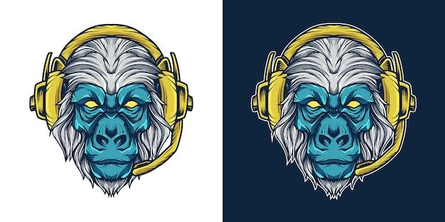 Gorila headset cabeça mascote logo ilustração