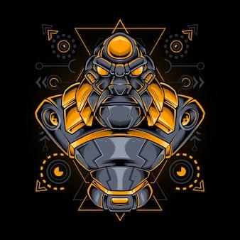 Gorila mecha ciborgue com geometria sagrada