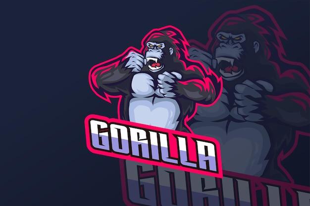 Gorila - modelo de logotipo da esport