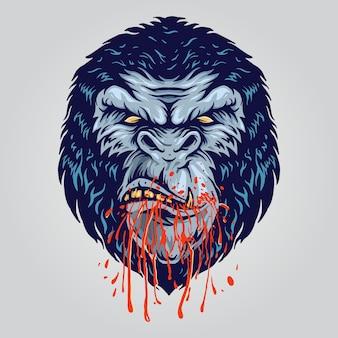 Gorila zangado com sangue na boca